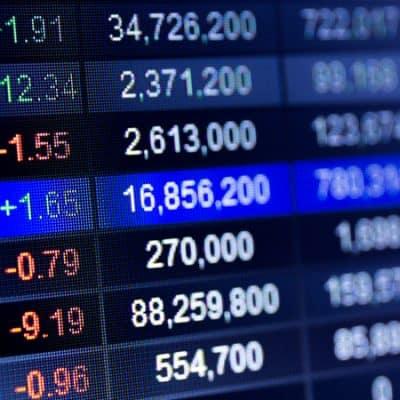 Arab Stock market data on LED display concept. G