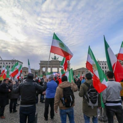 Iran demonstration in front of brandenburg gate