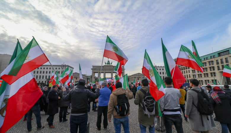 Iran demonstration in front of brandenburg gate