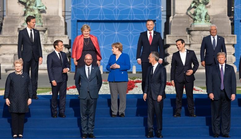 Jens Stoltenberg, Donald Trump, Emmanuel Macron and Angela Merkel at NATO Summit