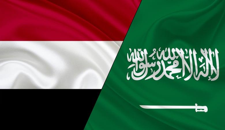 Flag of Yemen and flag of Saudi Arabia