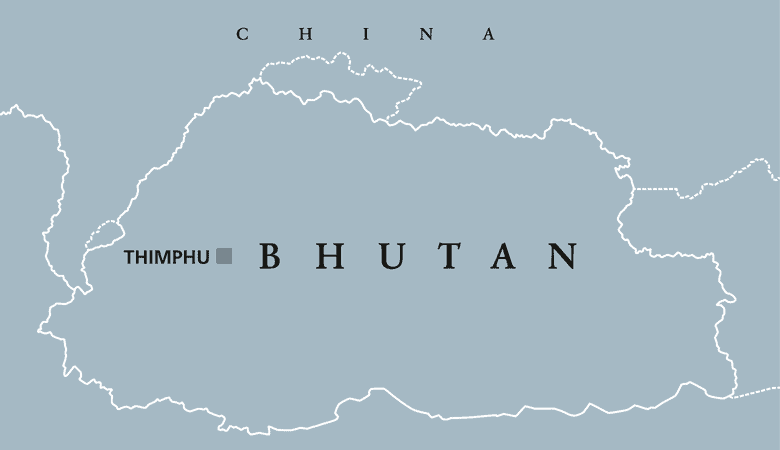 Bhutan political map with capital Thimphu and borders. English labeling.